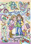 Interlitho, Dani, TEENAGERS, paintings, 2 girls, utilities(KL4114,#J#) Jugendliche, jóvenes, illustrations, pinturas ,everyday