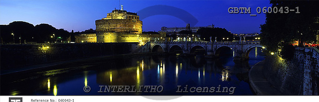 Tom Mackie, LANDSCAPES, panoramic, photos, Castle St. Angelo at Night, Rome, Italy, GBTM060043-1,#L#