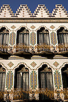Talavera tiled facade of the Hotel Provincia Express in the city of Puebla, Mexico. The historical center of Puebla is a UNESCO World Heritage Site..