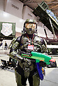 "Master Chief, a character of the video game Halo poses for the cameras at the Niconico Douga fan event at Makuhari Messe International Exhibition Hall on April 25, 2015, Chiba, Japan. The event includes special attractions such as J-pop concerts, Sumo and Pro Wrestling matches, cosplay and manga and various robot performances and is broadcast live on via the video-sharing site. Niconico Douga (in English ""Smiley, Smiley Video"") is one of Japan's biggest video community sites where users can upload, view, share videos and write comments directly in real time, creating a sense of a shared watching. According to the organizers more than 200,000 viewers for two days will see the event by internet. The popular event is held in all 11 halls of the huge Makuhari Messe exhibition center from April 25 to 26. (Photo by Rodrigo Reyes Marin/AFLO)"