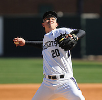 RHP Ethan Bramschreiber (20) of the Northwestern Wildcats pitches in a game against the Michigan State Spartans on Sunday, February 17, 2013, at Fluor Field at the West End in Greenville, South Carolina. Michigan State won, 7-4. (Tom Priddy/Four Seam Images)