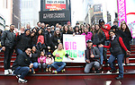 Laura Heywood, aka @BroadwayGirlNYC, with Ryann Redmond,Bonnie Comley and Leah Lane with fellow huggers attend Big Hug Day: Broadway comes together to spread kindness and raise funds for Children's Hospitals on January 21, 2018 at Duffy Square, Times Square in New York City.