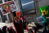 Kurdish women on hunger strike hold a picture of independence leader, Abdullah Ocalan outside the United Nations University in Omote Sando, Tokyo, Japan. Friday November 9th 2012. The strike lasted from 8am to 8pm to show solidarity with nearly 800 Kurdish political prisoners held in Turkey who have been on hunger strike for 2 months