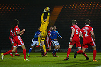 Walsall's goalkeeper collects the ball Mark Gillespie during the Sky Bet League 1 match between Rochdale and Walsall at Spotland Stadium, Rochdale, England on 23 December 2017. Photo by Juel Miah / PRiME Media Images.