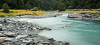Hikers crossing Matukituki River at Pearl Flat, Mt. Aspiring National Park, Central Otago, UNESCO World Heritage Area, South Island, New Zealand, NZ