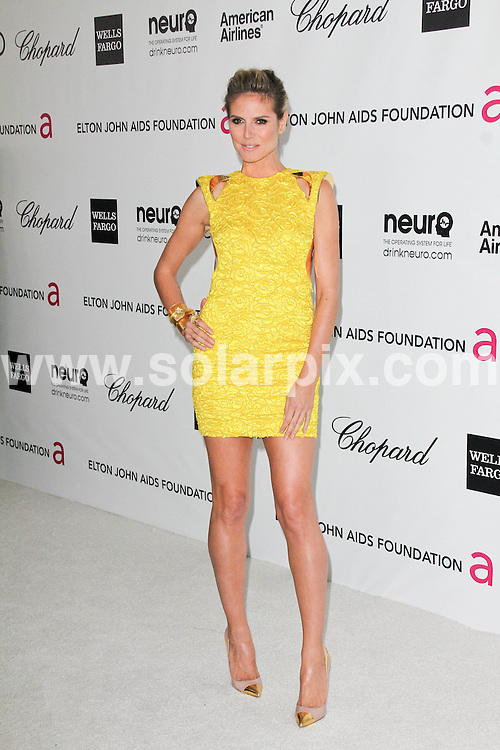 **ALL ROUND PICTURES FROM SOLARPIX.COM**                                             **SYNDICATION RIGHTS FOR UK, AUSTRALIA, DENMARK, PORTUGAL, S. AFRICA, SPAIN & DUBAI (U.A.E) & ASIA (EXCLUDING JAPAN) ONLY**                                                                                  Caption:  20th Annual Elton John AIDS Foundation Academy Awards Viewing Party - Arrivals - Pacific Design Center - West Hollywood, CA, USA                                                                             This pic: Heidi Klum  JOB REF: 14516       PHZ       DATE: 26.02.2012                                                           **MUST CREDIT SOLARPIX.COM OR DOUBLE FEE WILL BE CHARGED**                                                                      **MUST AGREE FEE BEFORE ONLINE USAGE**                               **CALL US ON: +34 952 811 768 or LOW RATE FROM UK 0844 617 7637**