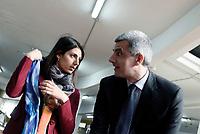 Roma, 16 Marzo 2017<br /> Adriano Meloni, assessore al commercio  e Virginia Raggi.<br /> Conferenza stampa al Mercato di Via Magnagrecia sul rilancio dei mercati rionali