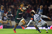 Telusa Veainu of Leicester Tigers looks to get past Kylian Jaminet of Castres Olympique. European Rugby Champions Cup match, between Leicester Tigers and Castres Olympique on October 21, 2017 at Welford Road in Leicester, England. Photo by: Patrick Khachfe / JMP