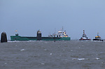 Tugboat &quot;Masterman&quot; helping the MV Arklow Valour after she ran aground at the mouth of the River Boyne at Mornington, Co. Louth on Friday 14th December 2018.<br /> Picture:  Thos Caffrey / www.newsfile.ie