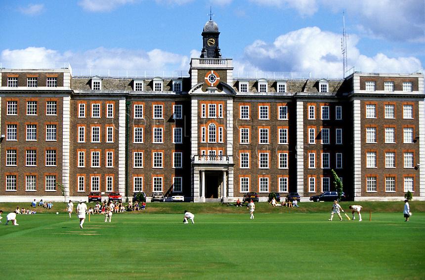 Cricket match outside a school