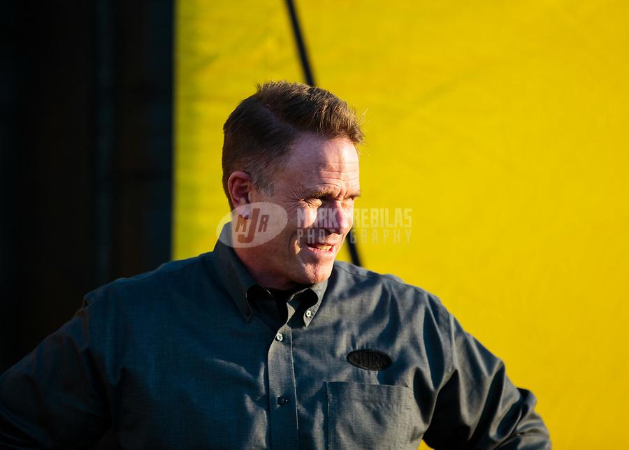 Nov 11, 2018; Pomona, CA, USA; NHRA president Glenn Cromwell during the Auto Club Finals at Auto Club Raceway. Mandatory Credit: Mark J. Rebilas-USA TODAY Sports
