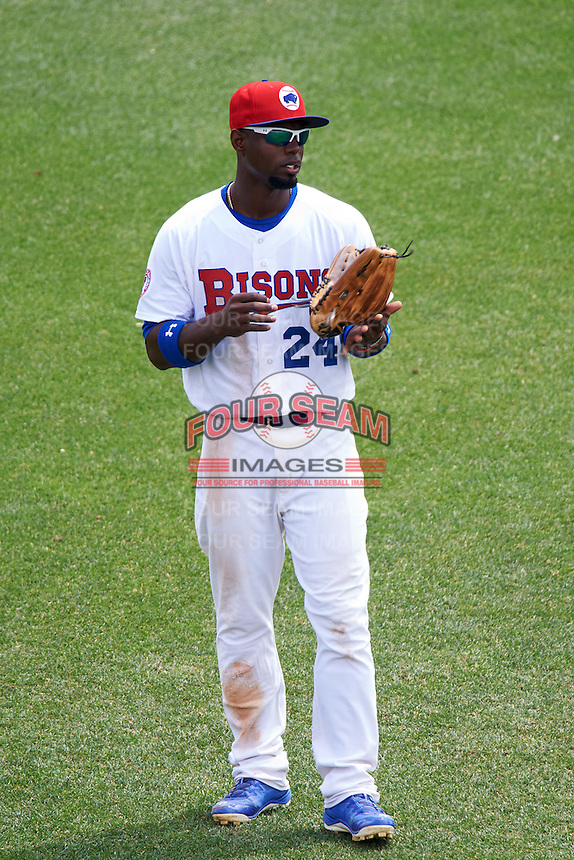 Buffalo Bisons left fielder Melky Mesa (24) during a game against the Louisville Bats on June 23, 2016 at Coca-Cola Field in Buffalo, New York.  Buffalo defeated Louisville 9-6.  (Mike Janes/Four Seam Images)