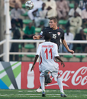 Eriq Zavaleta heads the ball.  US Men's National Team Under 17 defeated Malawi 1-0 in the second game of the FIFA 2009 Under-17 World Cup at Sani Abacha Stadium in Kano, Nigeria on October 29, 2009.