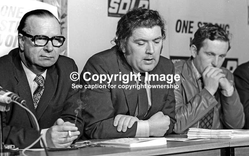 SDLP, Social Democratic &amp; Labour Party Press Conference to announce their party manifesto for the 10th October 1974 UK General Election. Left to right: Gerry Fitt, leader, John Hume, deputy leader, and Sean Hollywood, candidate, South Down. 197410000529c<br /> <br /> Copyright Image from Victor Patterson,<br /> 54 Dorchester Park, <br /> Belfast, UK, BT9 6RJ<br /> <br /> t1: +44 28 9066 1296 (from Rep of Ireland 048 9066 1296)<br /> t2: +44 28 9002 2446 (from Rep of Ireland 048 9002 2446)<br /> <br /> m: +44 7802 353836<br /> <br /> e: victorpatterson@me.com<br /> www.victorpatterson.com<br /> <br /> Please see my Terms and Conditions of Use at www.victorpatterson.com. It is IMPORTANT that you familiarise yourself with them.<br /> <br /> Images used on the Internet must be visibly watermarked i.e. &copy; Victor Patterson<br /> within the body of the image and copyright metadata must not be deleted. Images <br /> used on the Internet have a size restriction of 4kbs and will be chargeable at current<br />  NUJ rates unless agreed otherwise.<br /> <br /> This image is only available for the use of the download recipient i.e. television station, newspaper, magazine, book publisher, etc, and must not be passed on to any third <br /> party. It is also downloaded on condition that each and every usage is notified within 7 days to victorpatterson@me.com<br /> <br /> The right of Victor Patterson to be identified as the author is asserted in accordance with The Copyright Designs And Patents Act (1988). All moral rights are asserted.