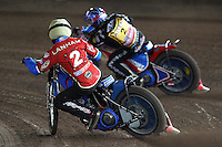 Heat 1: Oliver Allen (blue) and Leigh Lanham (yellow) - Coventry Bees vs Lakeside Hammers - Craven Shield Final 2nd Leg at Brandon, Coventry - 24/10/08 - MANDATORY CREDIT: Rob Newell/TGSPHOTO