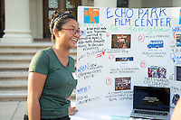 Occidental College student Frances Delfin '17 shares her InternLA experience working at the Echo Park Film Center during the Career Development Center's Reverse Career Fair, Thorne Hall patio, Sept. 3, 2015.<br /> (Photo by Marc Campos, Occidental College Photographer)