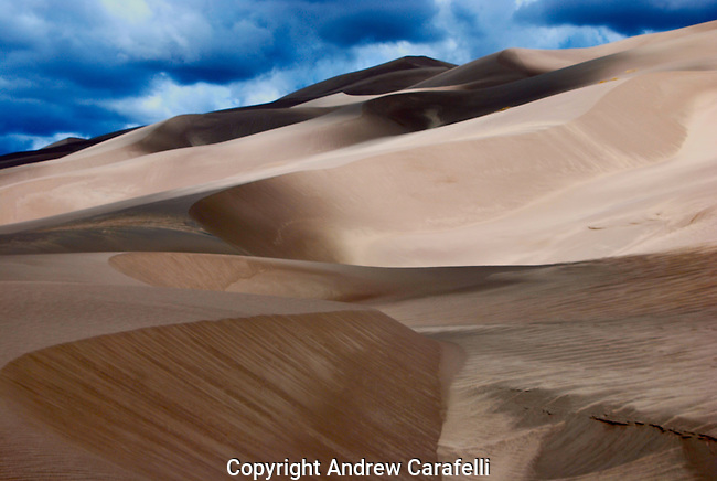 Sand dunes, some 600 feet high, continually move and shift in Great Sand Dunes National Park near Alamosa, Colorado.