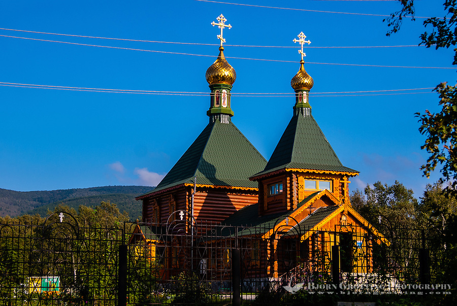 Russia, Sakhalin, Yuzhno-Sakhalinsk. The Church of Saint Nicholas is an orthodox church made from wood.