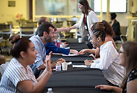 Occidental College students in the InternLA Summer Internship program participate in a mock career fair on July 27, 2018. Representatives from participating companies and Career Services staff reviewed resumes and met with students. InternLA is a paid summer internship program which helps Oxy students gain real-world work experience from actual businesses in Los Angeles.<br /> (Photo by Marc Campos, Occidental College Photographer)