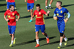 Spanish player Cesar Azpilicueta, Juan Mata and Adrian San Miguel durign the first training of the concentration of Spanish football team at Ciudad del Futbol de Las Rozas before the qualifying for the Russia world cup in 2017 August 29, 2016. (ALTERPHOTOS/Rodrigo Jimenez)