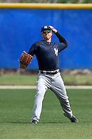 New York Yankees Dustin Fowler (33) during practice before a minor league spring training game against the Toronto Blue Jays on March 24, 2015 at the Englebert Complex in Dunedin, Florida.  (Mike Janes/Four Seam Images)