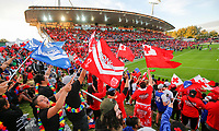Fans. Tonga v Samoa, Rugby League World Cup, FMG Stadium, Hamilton, New Zealand. Saturday, 4 November, 2017. Copyright photo: John Cowpland / www.photosport.nz MANDATORY CREDIT/BYLINE : John Cowpland/SWpix.com/PhotosportNZ