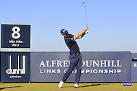 Morten Orum Madsen (DEN) on the 8th tee during Round 1 of the 2015 Alfred Dunhill Links Championship at Kingsbarns in Scotland on 1/10/15.<br />