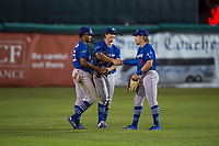Ogden Raptors outfielders Daniel Robinson (50), James Outman (47), and Niko Hulsizer (12) celebrate a victory after a Pioneer League game against the Orem Owlz at Home of the OWLZ on August 24, 2018 in Orem, Utah. The Ogden Raptors defeated the Orem Owlz by a score of 13-5. (Zachary Lucy/Four Seam Images)