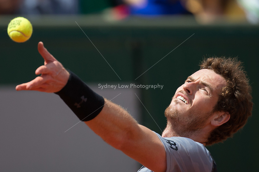 May 30, 2015: Andy MURRAY of United Kingdom in action in a 3rd round match against Nick KYRGIOS of Australia on day seven of the 2015 French Open tennis tournament at Roland Garros in Paris, France. MURRAY won 64 62 63. Sydney Low/AsteriskImages