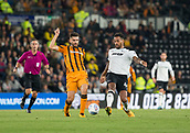 8th September 2017, Pride Park Stadium, Derby, England; EFL Championship football, Derby County versus Hull City; Tom Huddlestone of Derby County and Jon Toral of Hull City come together to take possession of the ball