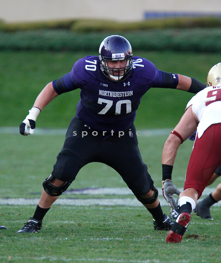 Northwestern Wildcats Patrick Ward (70) in action during a game against the Boston College Eagles on September 15, 2012 at Ryan Field in Evanston, IL. Northwestern beat Boston College 22-13