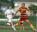 BROOKINGS, SD - AUGUST 23:  Sydney Tobin #14 from South Dakota State University battles for the ball with Jessica Reyes #13 from Iowa State in the first half of their game Friday evening at Fischback Soccer Field in Brookings. (Photo by Dave Eggen/Inertia)