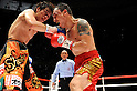 (L-R) Tomonobu Shimizu (JPN), Hugo Fidel Cazares (MEX), AUGUST 31, 2011 - Boxing : Tomonobu Shimizu of Japan and Hugo Fidel Cazares of Mexico in action during the WBA super flyweight title bout at Nippon Budokan in Tokyo, Japan. (Photo by Mikio Nakai/AFLO)