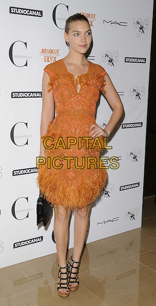 Arizona Muse<br /> The &quot;Mademoiselle C&quot; VIP film screening, May Fair Hotel, Stratton St., London, England.<br /> September 15th, 2013<br /> full length black orange dress feathers hand on hip strappy sandals <br /> CAP/CAN<br /> &copy;Can Nguyen/Capital Pictures