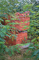 A pile of bricks nestled in the bushes in Poland. Zawady Central Poland