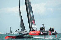 25 July 2015: Oracle Team USA competes during the America's Cup first round racing off Portsmouth, England (Photo by Rob Munro)