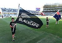 Heart Kids flag bearers.<br /> New Zealand Black Caps v Australia.Tri-Series International Twenty20 cricket. Eden Park, Auckland, New Zealand. Friday 16 February 2018. &copy; Copyright Photo: Andrew Cornaga / www.Photosport.nz