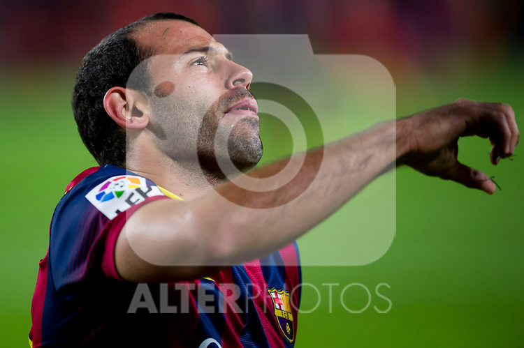 FC Barcelona's Javier Mascherano gestures during La Liga 2013-2014 match against RCD Espanyol. November 1, 2013. (ALTERPHOTOS/Alex Caparros)