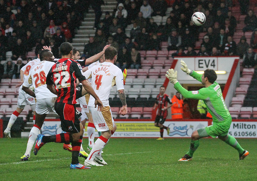 Crawley Town's Gary Alexander scores an own goal for AFC Bournemouth's opening goal...Football - npower Football League Division One - Bournemouth v Crawley Town - Goldsands Stadium - Bournemouth..