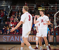 STANFORD, CA - January 5, 2019: Paul Bischoff, Kyler Presho at Maples Pavilion. The Stanford Cardinal defeated UC Santa Cruz 25-11, 25-17, 25-15.