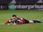 Billy Sharp of Sheffield United lays on the ground after missing a chance on goal during the English Football League One match at Bramall Lane, Sheffield. Picture date: November 22nd, 2016. Pic Jamie Tyerman/Sportimage