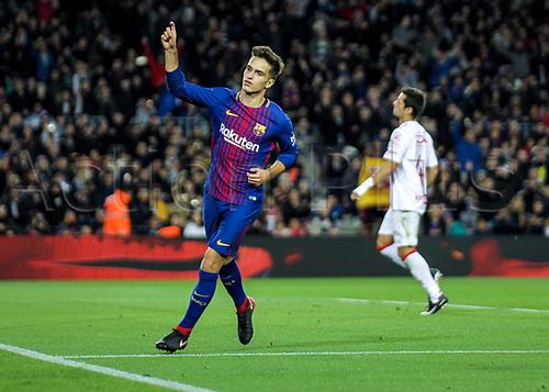29th November 2017, Camp Nou, Barcelona, Spain; Copa Del Rey, Barcelona versus Real Murcia; Denis Suarez celebrating his goal