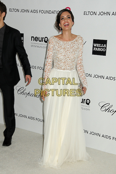 Torrey DeVitto.20th Annual Elton John Academy Awards Viewing Party held at West Hollywood Park, West Hollywood, California, USA..February 26th, 2012.full length white dress lace top skirt  .CAP/ADM/BP.©Byron Purvis/AdMedia/Capital Pictures.