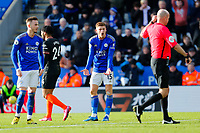1st February 2020; King Power Stadium, Leicester, Midlands, England; English Premier League Football, Leicester City versus Chelsea; Harvey Barnes of Leicester City complains to Referee Lee Mason after he turns down a penalty for a handball
