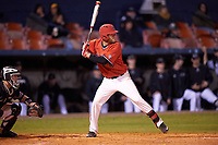 Ball State Cardinals third baseman Sean Kennedy (10) at bat during a game against the Wisconsin-Milwaukee Panthers on February 26, 2016 at Chain of Lakes Stadium in Winter Haven, Florida.  Ball State defeated Wisconsin-Milwaukee 11-5.  (Mike Janes/Four Seam Images)