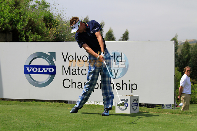 Ian Poulter (ENG) teeing off on the 1st tee during Day 1 of the Volvo World Match Play Championship in Finca Cortesin, Casares, Spain, 19th May 2011. (Photo Eoin Clarke/Golffile 2011)