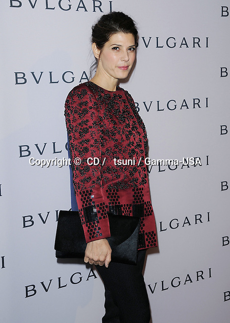Marisa Tomei at the Bulgary Celebrates Elizabeth Taylor s Magnificent Collection in Beverly Hills.