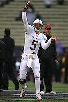 Oct 30, 20010:  Stanford quarterback #5 Alex Loukas warms up before the game against Washington.  Stanford defeated Washington 41-0 at Husky Stadium in Seattle, Washington.
