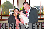 Pictured at the Christening Celebration of Baby Sophia Collins in the Devon Inn Hotel, Templelglantine which took place on Saturday in Mountcollins Church by Fr. O'Gorman at 1pm were Baby Sophia with her parents Maurice and Gina Collins, Mountcollins.  Not pictured are godparents Rochelle Looney and Michael Collins, Mountcollins.