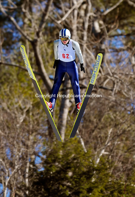 SALISBURY, CT-05 FEBRUARY 2009-020710JS01-Luke Daniels of the Andover Outing Club, took first place in the Junior 2 division during the 84th annual U.S. Eastern Championship ski jumps Sunday at Satre Hill in Salisbury. <br /> Jim Shannon Republican-American